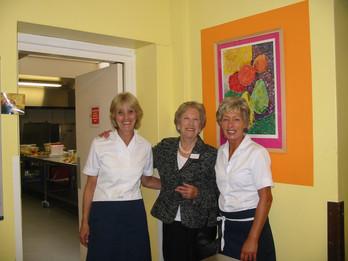 Mrs Leslie between two members of Housekeeping staff.