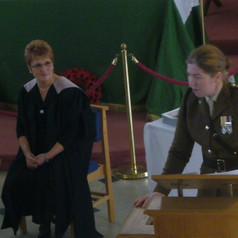 Sue Meek and former Headgirl , Alice Rawdon Mogg