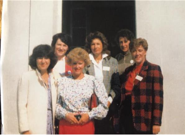 Visiting Babington House in 2000. Back L-R Frances Bearn (Moojen, 1955-63), Isolde Ricci (Rees, 1957-64) Pat O'Connor Front L-R Vivian Nahum (Murad, 1960-63) Alex Wooster (Rolt, 1957-64) Ann Davies. Behind the camera Angelica Meletiou. Also visiting on the same day Heather Johnson (Heald 1948-57.Babington was a private house by then but the owner was delighted to show them round and hear their tales of when it was a boarding house!