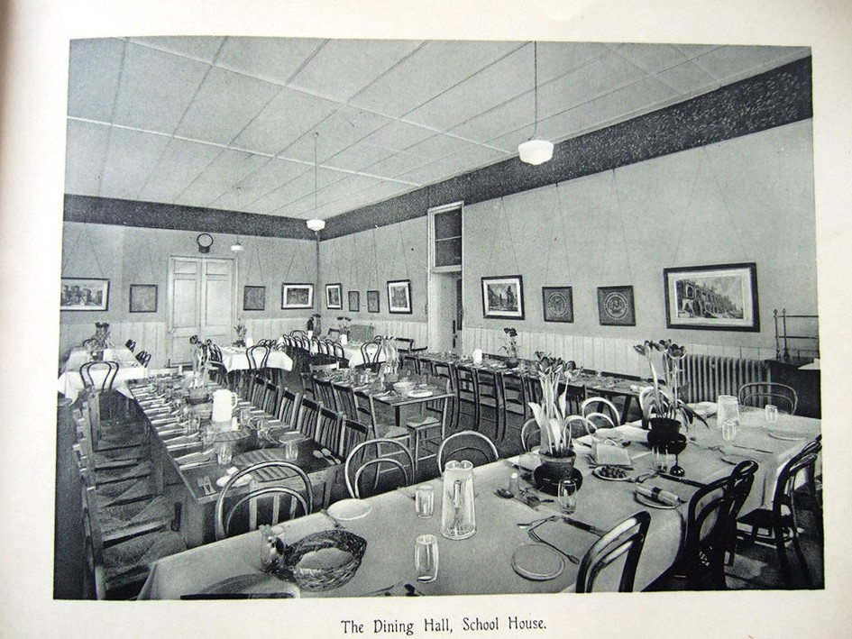 Dining Room School House, doors to kitchen at far end 1930s
