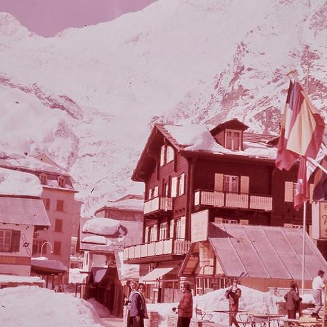 Jeanette Cureton's (Smith 1961-62) photo. School Ski trip Saas-Fee, Switzerland. Sherry Carter (Coe), Judy Allen, and Elizabeth McLeish.