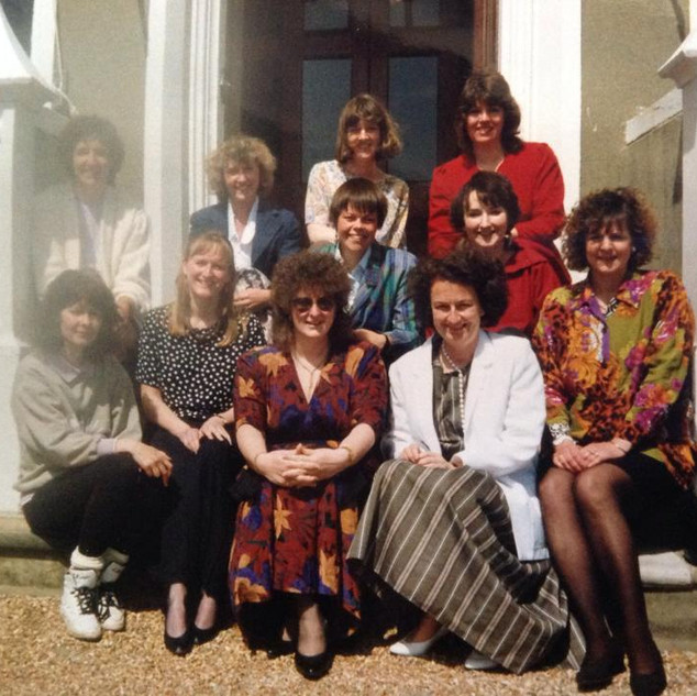 Top L-R, Penny Perry, Tessa Williams, Jackie Giles, Gillian Walsh; Kathy Howard & Iona Wilson in the middle; Anne Powell, Claire Bowes, Elisabeth Ferguson, Susan Graves and Sue Davis. (Mid/late 80's)