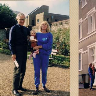 Pam (Read-Jahn) & daughter Zoe with the Bursar (Cmndr. Martin) in 1987.