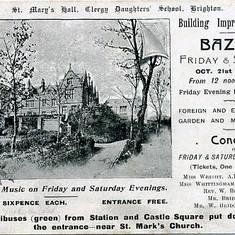 Advertisement for 1904 Bazaar - School Improvement fund (to fund Elliott Wing??)