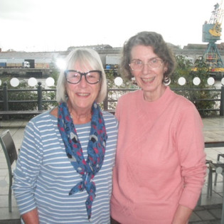 "Reunions don't come any more ""mini"" than two Old Girls, but they are still very special and in this case very exciting for our Team Manager, Penny Harrison (Titheradge, 1969-73), since she was invited by Bridget Sudworth (Last, 1930-63) to join her and her husband for lunch while (she writes) ""they were 'up my way' on holiday in October. We met at the National Glass Centre in Sunderland and are pictured against the backdrop of the Port of Sunderland. Although Bridget is ten years my senior and we had never met we felt an instant connection."" October 2019"