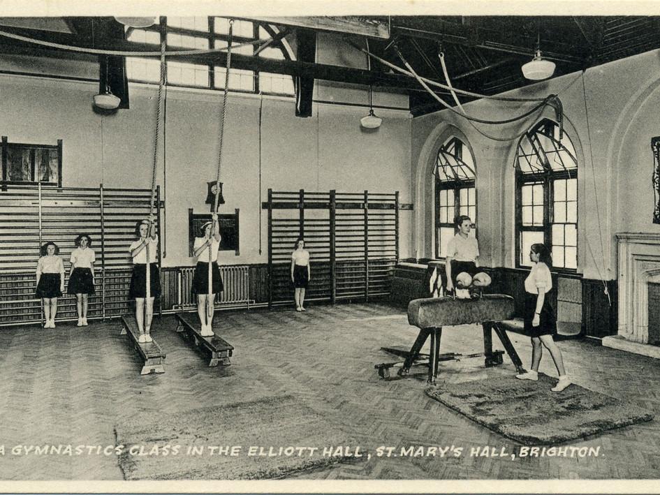 Elliott Assembly Hall, gym class 1930s-1950s