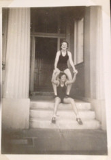 Jenny Booth and Susan Snelling, outside Babington on the way to swim in the sea before bed! 1953. Photo supplied by Susan Metzner