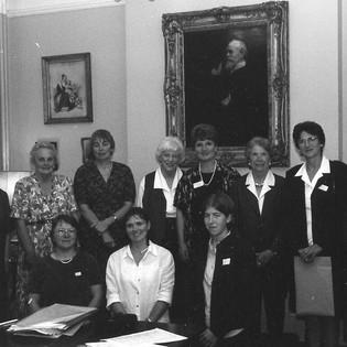 2000 - a committee meeting - L to R - Miss Payne, Mrs Boyes, Ann Stapleton (Gosnell), Mrs James, Mrs Meek, Mrs Leslie, Frances Bearn, Ann Nelson. Bottom row Penny Gardiner (Buck), Jo Stubbs (Podd), Alice Rawdon Mogg