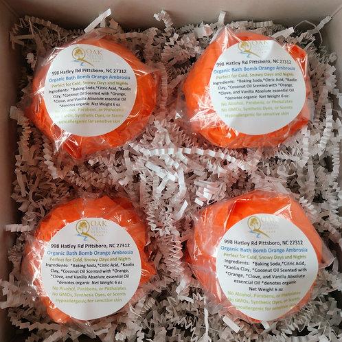 6 oz Organic Bath Bombs Orange Ambrosia - 4 Pack