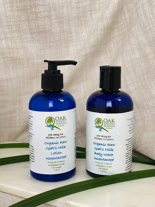 Organic Raw Goat's Milk Lotion and Body Wash Set Unscented