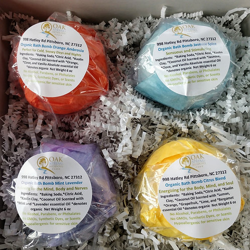 6 oz Organic Bath Bombs Mixed Box - 4 Pack
