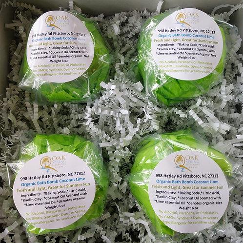 6 oz Organic Bath Bombs Coconut Lime - 4 Pack