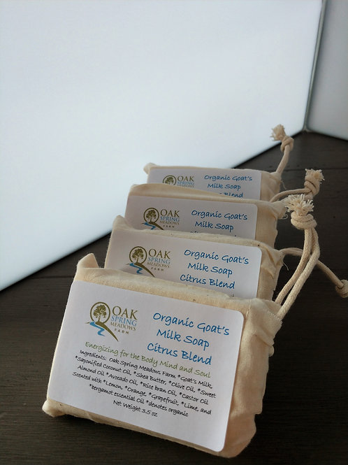 Organic Raw Goat's Milk Bar Soap Citrus Blend - 4 pack