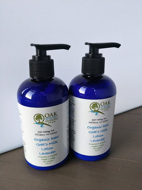 16 oz Organic Raw Goat's Milk Lotion Lavender