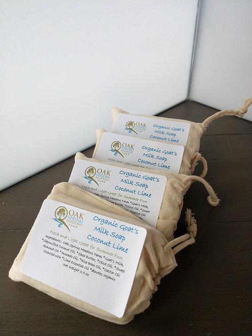 Organic Raw Goat's Milk Bar Soap Coconut Lime - 4 pack