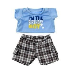 "Birthday Boy T-Shirt with Black Plaid Shorts 16"""