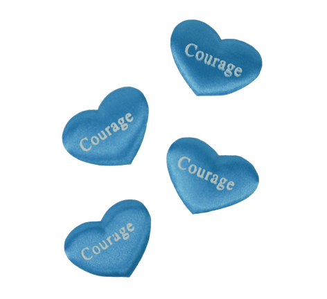 Blue Printed Heart Courage