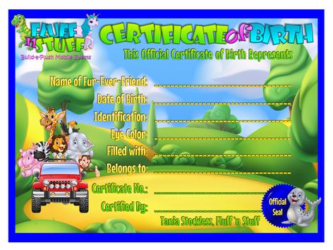 Fluff 'n Stuff Official Birth Certificate