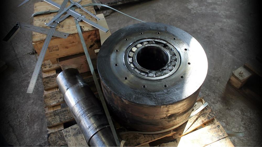 Ремонт опорного ролика роторной печи