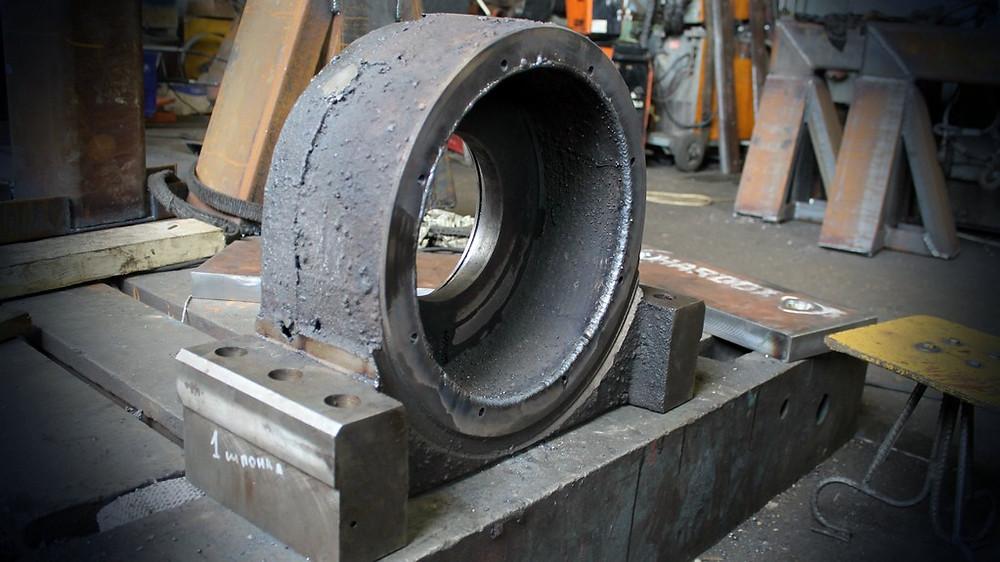 Провели наплавку внутреннего диаметра корпуса