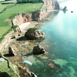 A great #dayout on my #paramotor with _saschadench flying the #durassiccoast in #devon #uk