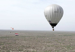 A spectacutar #paramotorflight in #iraq to promote #peace.We flew with the #iraqflag around many fam