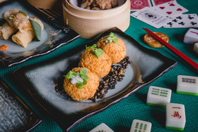 Chilli Crab Meat Croquette  with Mint Ma