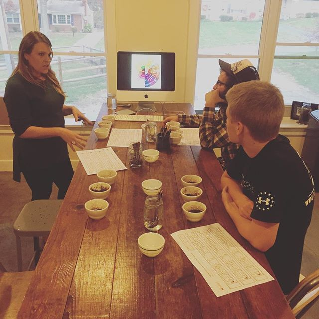 Some of our newest employees at _deeperrootsdrc learning all about coffee! Watch out, Ludlow!__#deep