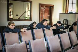 66 guns drawn on suspect