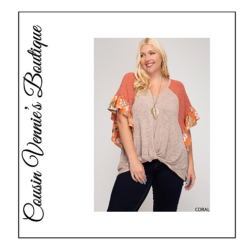 Dolman Ruffle Sleeve V Neck Knit with Front Tie Detail & Back Button Closure