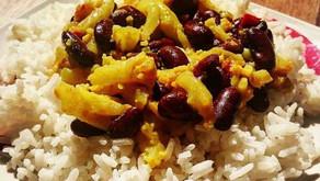Fazole na kari skvětákem a rýží zdravý recept