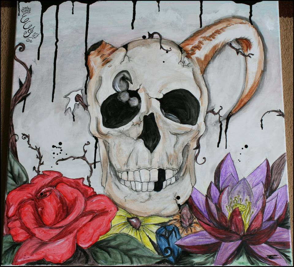 Skull in flowers - 2010 - web
