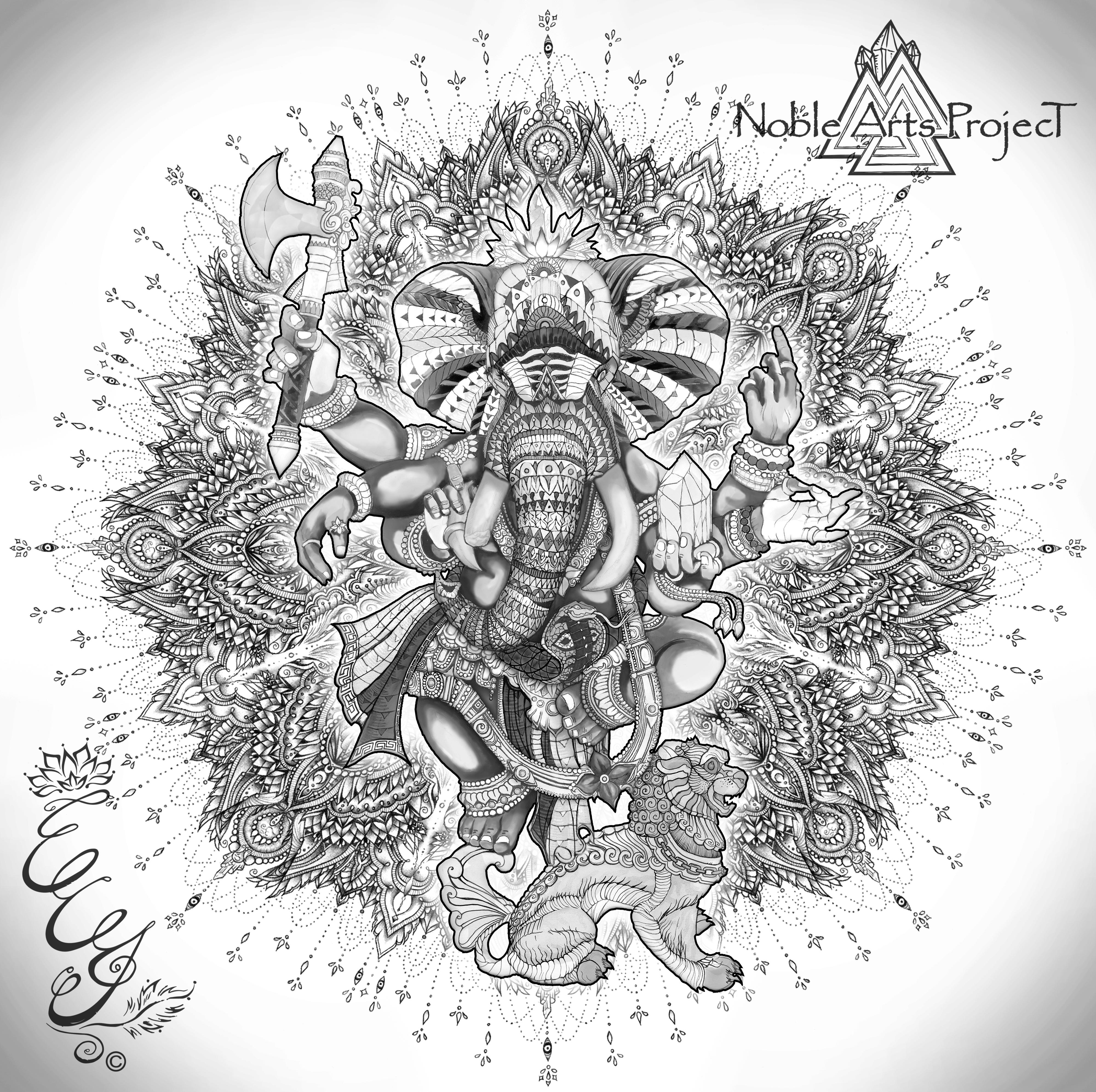 Mandala by ECJ Artworks _ Ganesha by Noble Arts Project B_W - 2016 - web