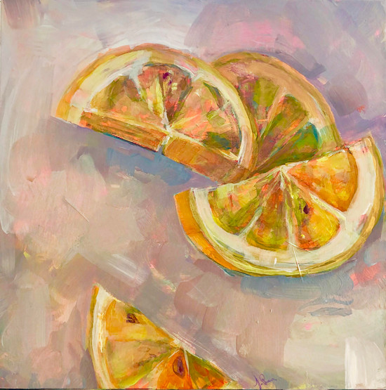 Penney, Citrus Party, acrylic on wood pa