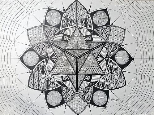 Círculos em ciclos imaginais - Arte Original - Nanquin