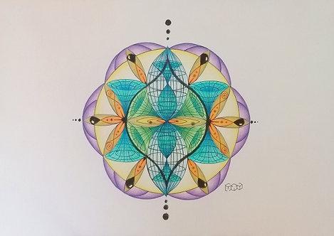 Flow flower  - Original - Nanquim e lápis colorido