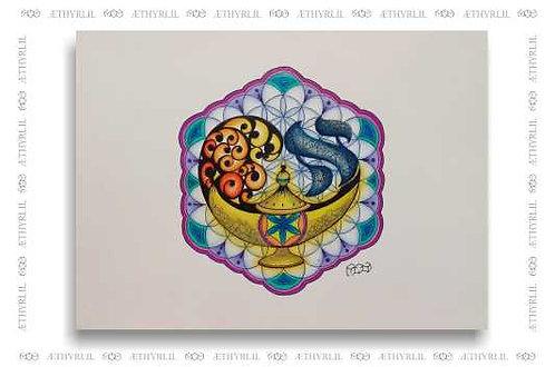 Aleph Genius - Original - Nanquim e lápis colorido