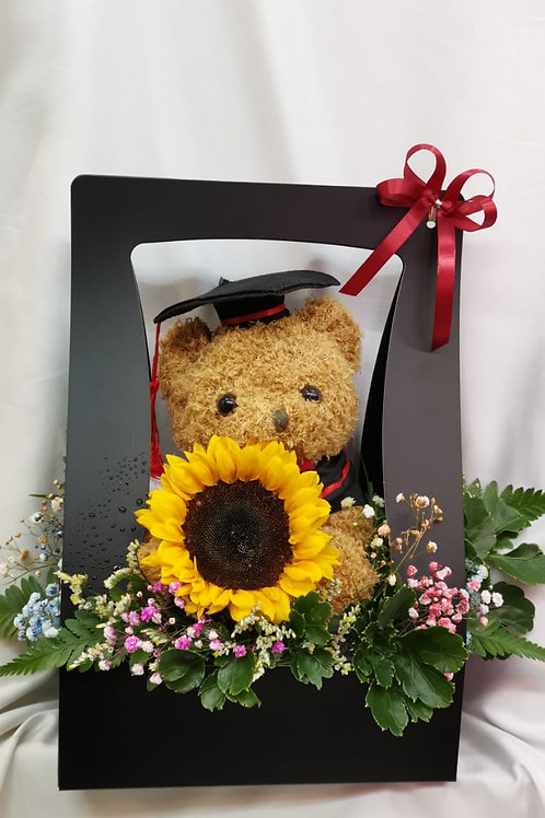 GRADUATION BEAR AND SUNFLOWER (BOX)