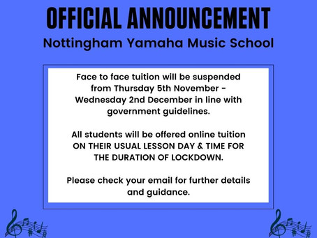 Important Announcement Regarding Lessons from Thu 5th Nov - WED 2nd Dec