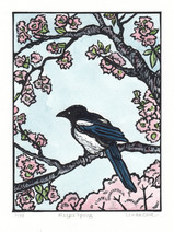 LINDA COTE- Magpie Spring-11/35 Painted Linocut