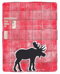 LINDA COTE-Plaid Moose Mixed Media