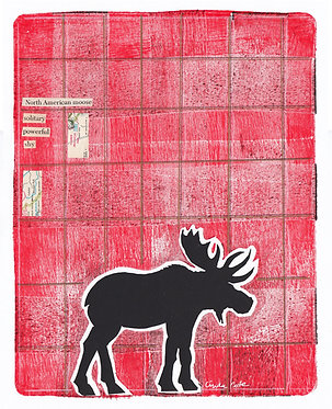 Plaid Moose 2 Mixed Media