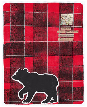 Plaid Bear 2 Mixed Media