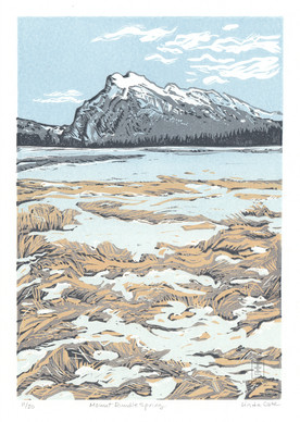 LINDA COTE-Mt. Rundle Spring 11/20 Reduction Linocut
