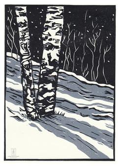 LINDA COTE- Winter Aspens Linocut