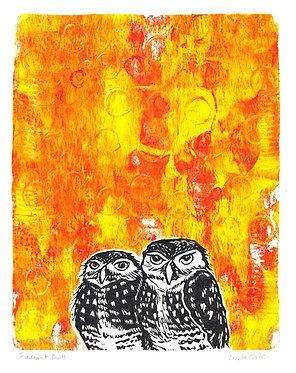 Radiant Burrowing Owls Monoprint 8
