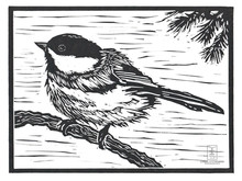 LINDA COTE-Little Chickadee Linocut