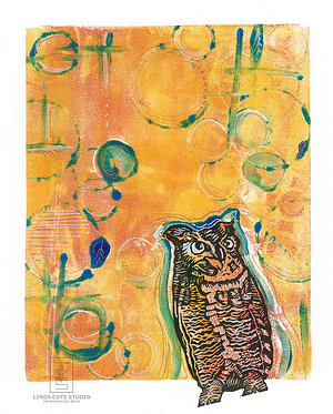 Radiant Owl Monoprint with Hand Drawn Accents
