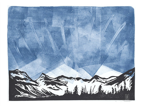 Midnight Mountains Monoprint (b)