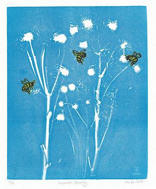 Summer Bounty Monoprint + Linocut #14